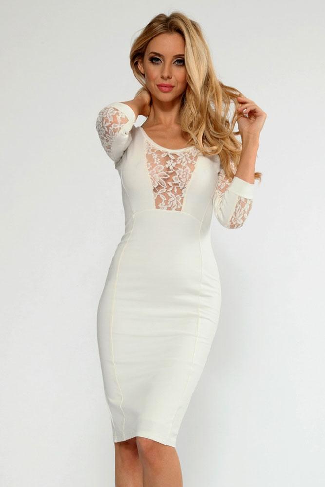Модели платьев с кружевными вставками