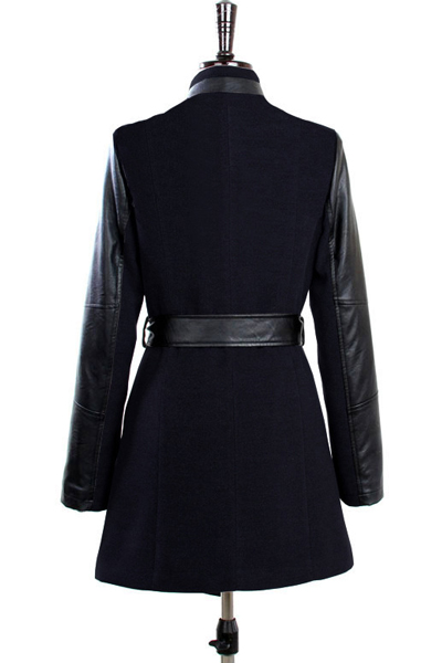 Fashion Turndown Collar Long Sleeves Zipper Design PU Patchwork Black Long Wool Coat