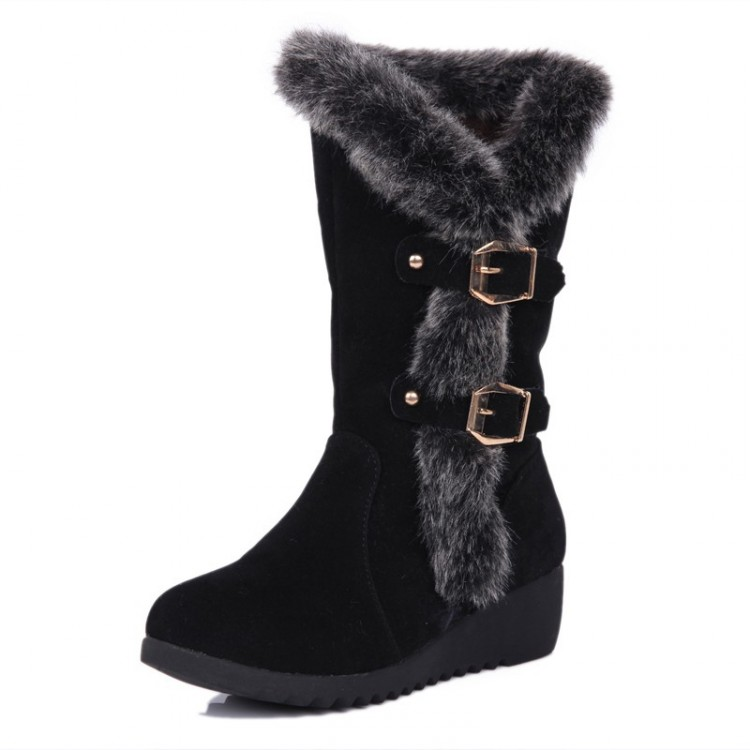 cheap winter fashion toe fur patchwork buckle