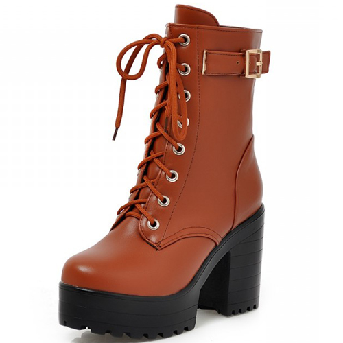 cheap winter fashion toe buckle decorated lace up