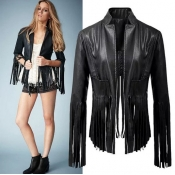 Cheap Fashion European Style Long Sleeves Tassel Design Black Faux Leather Regular Jacket