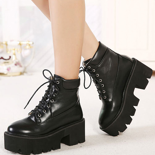 Cheap Winter Fashion Round Toe Lace-up Platform Chunky High Heel Black PU Ankle Martens Boots