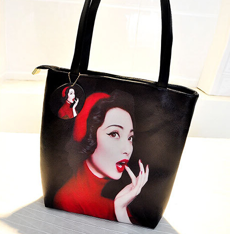 Cheap Fashion Zipper Design Red Lip Girl Print PU Shoulder Bag
