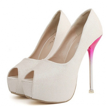 Cheap Fashion Round Peep Toe Platform Stiletto Super High Heel White PU Basic Pumps