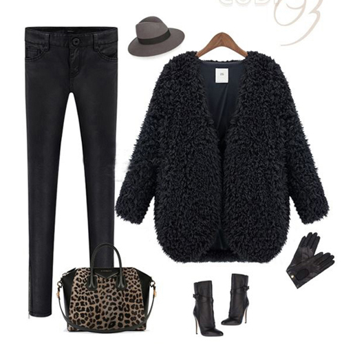 Cheap New Style V Neck Long Sleeves Black Regular Jacket
