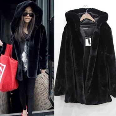 Cheap New Style Long Sleeves Black Faux Fur Regular Hooded Jacket