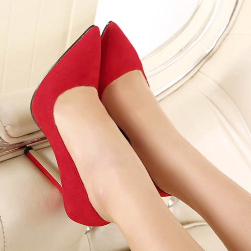 Cheap Fashion Pointed Closed Toe Stiletto Super High Heel Red Suede Basic Pumps