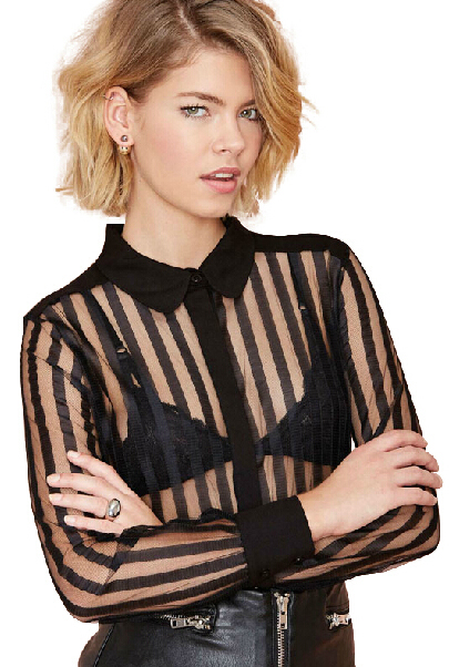 Cheap Sexy Peter Pan Collar Long Sleeves Hollow-out Striped Black Polyester Shirt