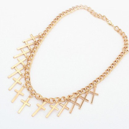 Cheap Fashion Cross Shaped Tassel Gold Metal Necklace