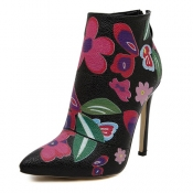 Cheap Winter Fashion Pointed Toe Floral Print Zipper Design Stiletto Super High Heel Black PU Ankle Martens Boots