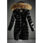 Cheap New Style Fur Collar Zipper Design Black Cotton Regular Hooded Down Jacket