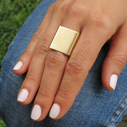 Cheap Fashion Square Shaped Gold Metal Ring