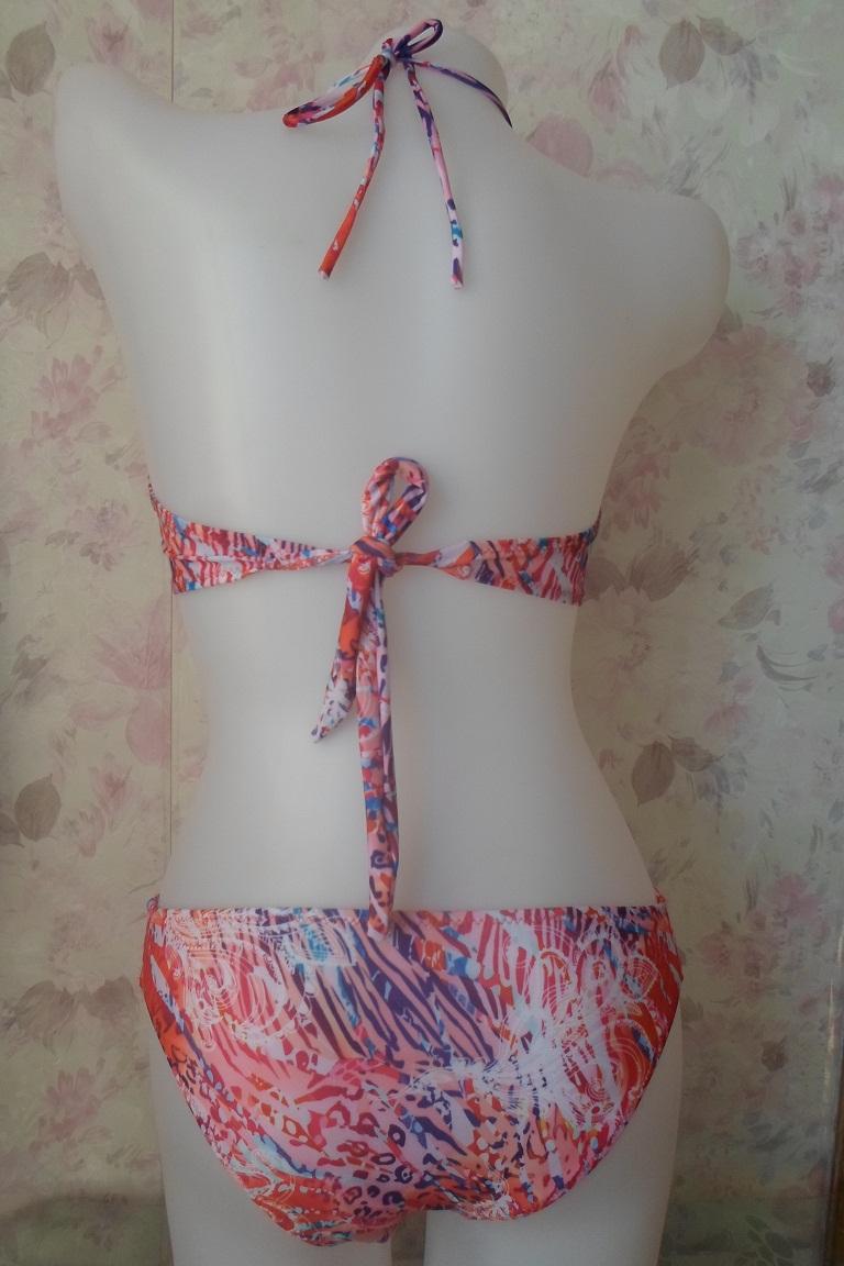 Cheap Sexy Halter Neck Strappy oca-out impressão floral rosa Duas peças-Biquini