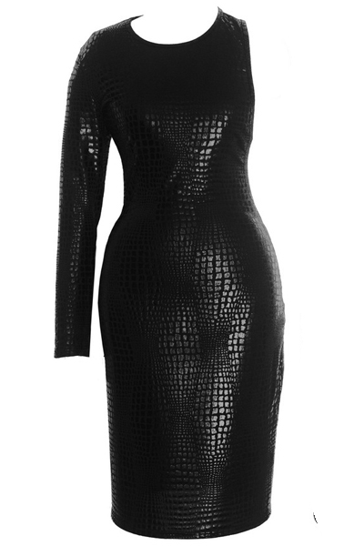 Cheap Sexy O Neck One Shoulder Long Sleeve Back Hollow-out Cobra Black PU Sheath Mini Bodycon Dress