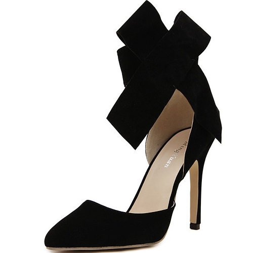 Cheap Fashion Pointed Closed Toe Bow-tie Shaped Ankle Strap Design