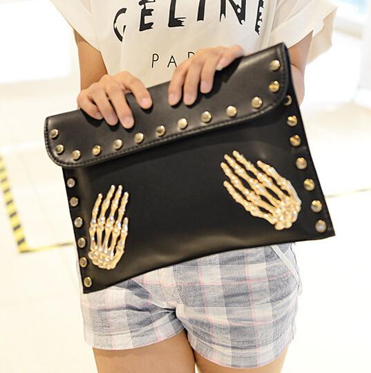 Cheap Retro Fashion Hasp Design Skeleton Palms Embellished Solid Black PU Clutches Bag