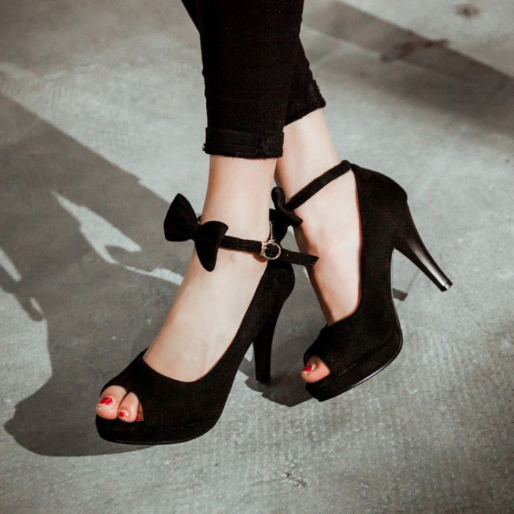 Cheap Vintage Peep Toe Stiletto Super High Heel Black Suede Ankle