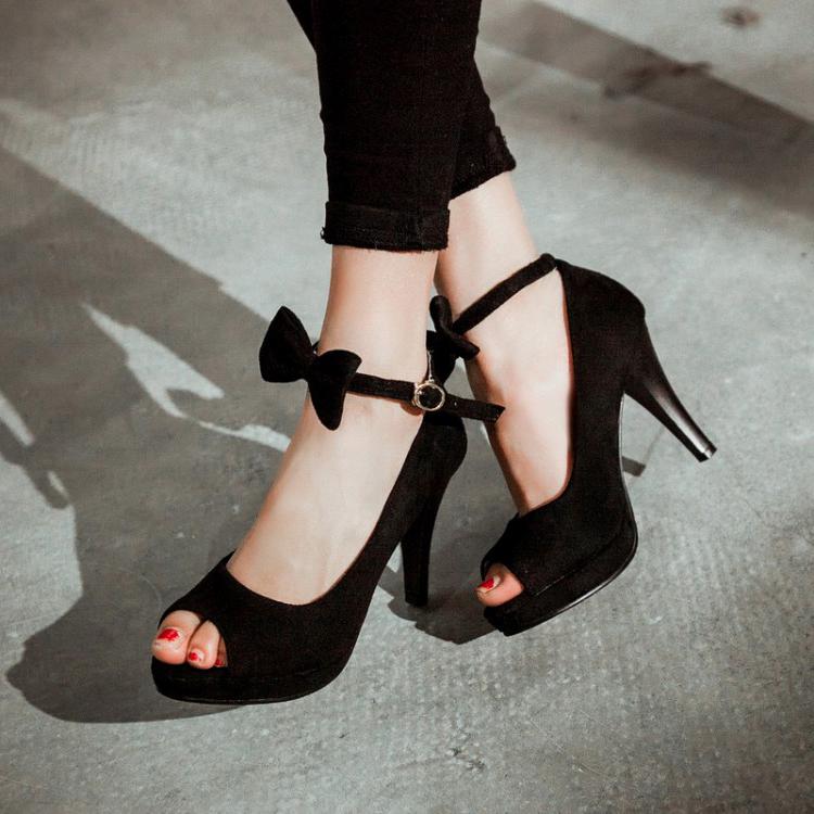 Cheap Vintage Peep Toe Stiletto Super High Heel Black Suede Ankle