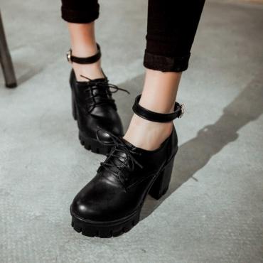 Cheap Fashion  Round Closed Toe Lace-up Chunky High Heels Black PU Pumps