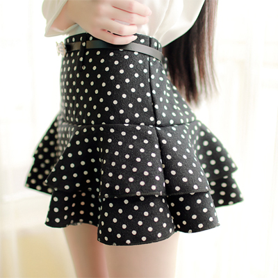 Cheap Sexy Flouncing Design Polka Dots Print Black Spandex A Line ...