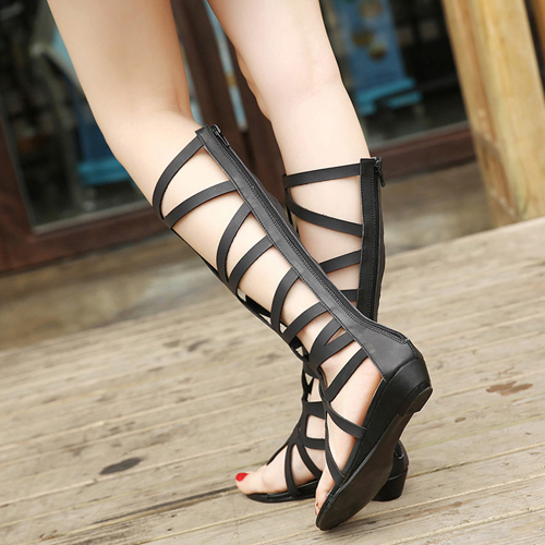 Fashion Clip Toe Hollow-out Flat Low Heel Black PU Gladiator ...