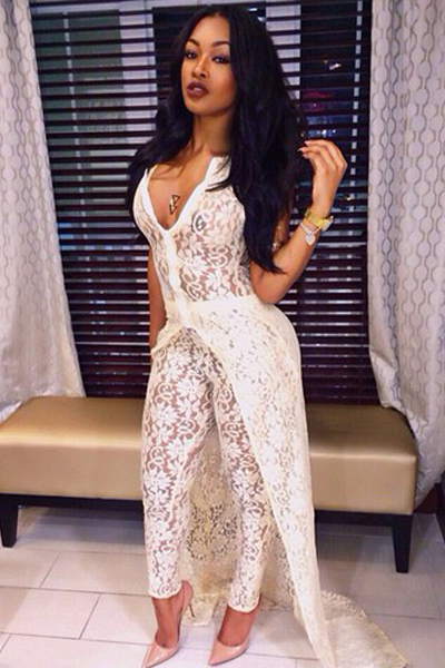 Cheap Sexy V Neck Sleeveless Hollow-out Solid White Lace Two-piece ...