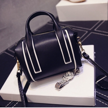 Cheap Women Fashion Zipper Design Patchwork Black PU Slanting Bag