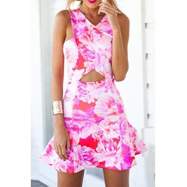 Cheap Sexy V Neck Floral Print Tank Sleeveless Pink Cotton Sheath Mini Dress