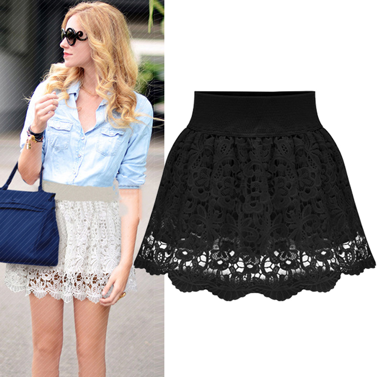cheap fashion solid black lace a line mini skirt skirts