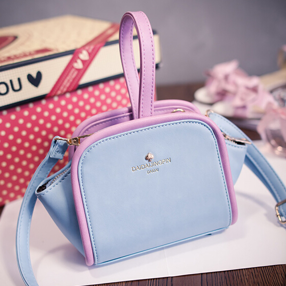 Cheap Women Fashion Zipper Design Patchwork Blue PU Slanting Bag