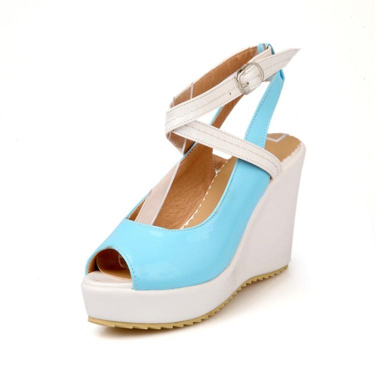 cheap fashion peep toe platform wedge high heel blue