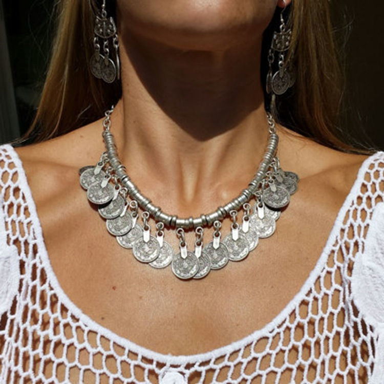 Cheap Retro Fashion Coin Tassel Shaped Metal Necklace