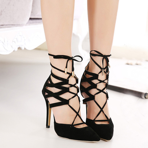 Closed Toe Lace Up Heels
