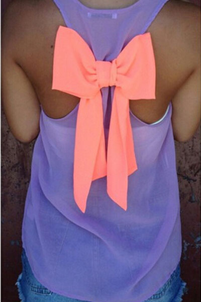 Fashion O Neck Sleeveless Back Bow Decorated Purple Chiffon Shirt