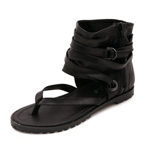 Casual Clip Toe Flat Low Heel Black PU Sandals