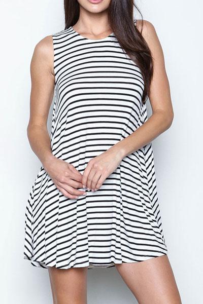 Fashion O Neck Tank Sleeveless Back Split Striped Blending A Line Mini Skater Dress