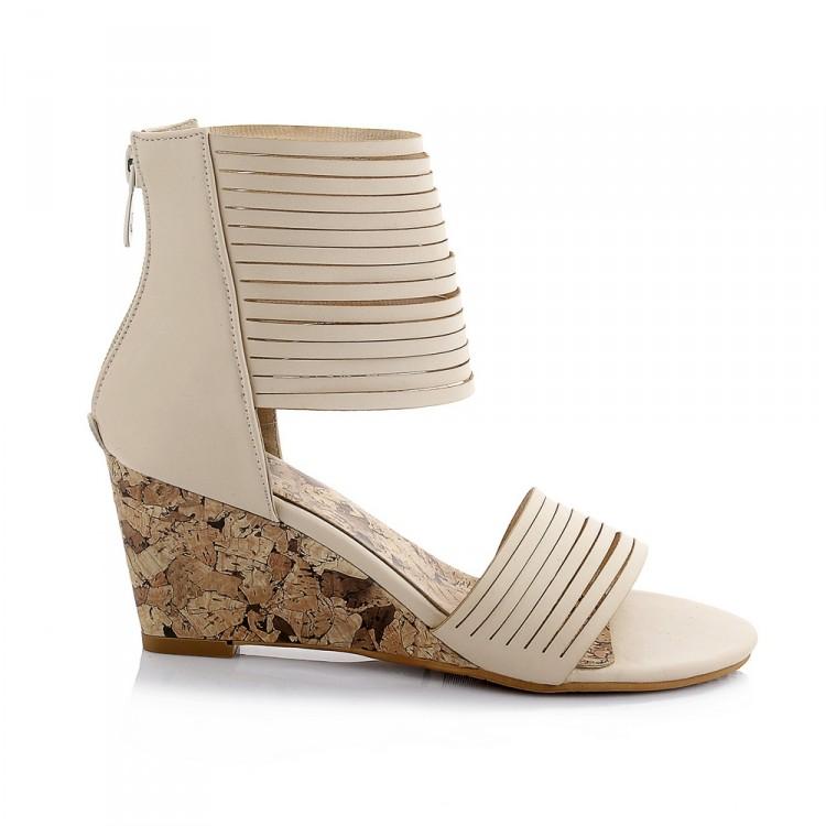 l gant strappy wedge talon haut beige pu cheville wrap sandals sandals shoes lovelywholesale. Black Bedroom Furniture Sets. Home Design Ideas