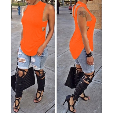 Fashion Sleeveless Backless Side Split Solid Orange Red Polyester T-shirt