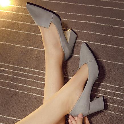 Fashion Pointed Closed Toe Chunky High Heel Grey PU Basic Pumps