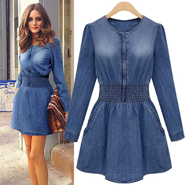 Fashion O Neck Long Sleeves Blue Denim Mini ...