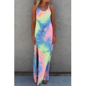 Fashion O Neck Spaghetti Strap Sleeveless Split Print Blending Sheath Ankle Length Dress