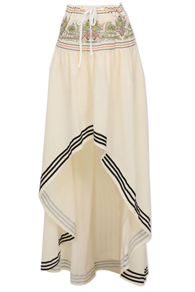 print asymmetrical blending a line floor length skirt