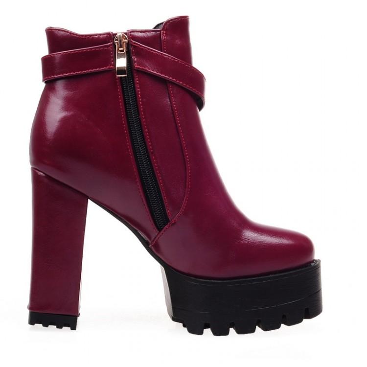 Invierno Moda dedo del pie redondo diseño de la cremallera Chunky Super High Heel Rojo PU hebilla del tobillo de las botas