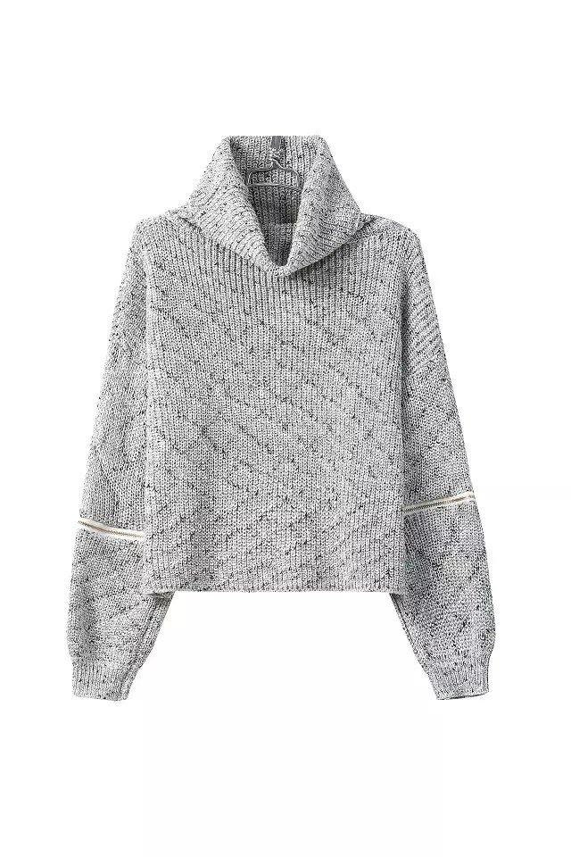 Fashion Turtleneck Long Sleeves Cut-out Grey Blending Regular Pullover Sweater