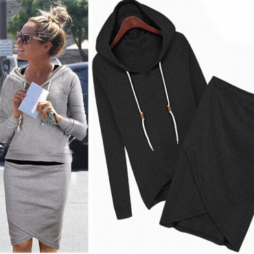 Casual Long Sleeves Black Blending Two-piece Regular Pullover Hooded Sweat Set