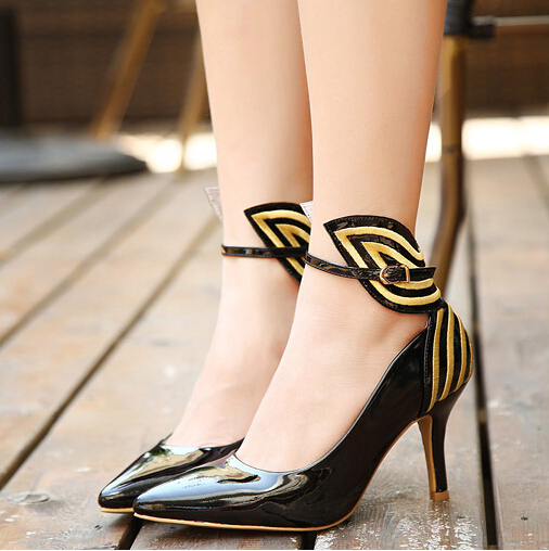 Fashion Pointed Closed Toe Patchwork Striped Chunky High Heel Black PU Ankle Strap Pumps