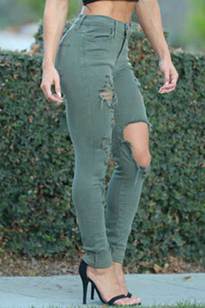Casual Broken Holes Button Fly Design Solid Green Blending Skinny Pants