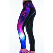 Casual Patchwork Galaxy Print Polyester Leggings