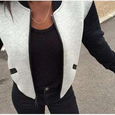 Casual O Neck Long Sleeves Zipper Design Patchwork Grey Polyester Regular Jacket