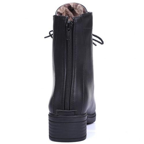 весна осень моды круглый носок на шнуровке коренастый середине пятки черный PU лодыжки куницы сапоги